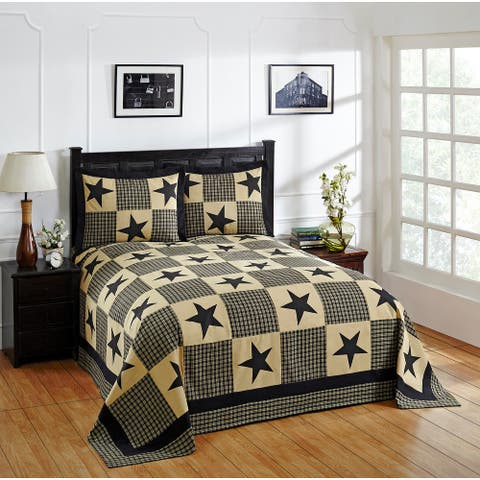 Better Trends Star Printed Americana Design 100% Cotton Bedspread Set
