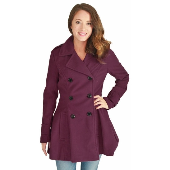 Urban Republic Juniors Double Breasted Long Wool Peacoat Coat Plus Size Avail