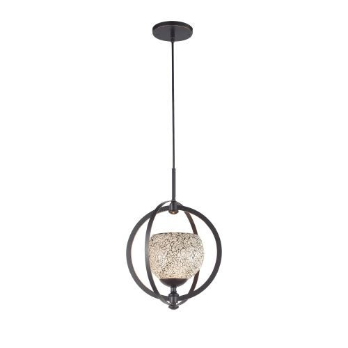 Woodbridge Lighting 13320MEB-WHT 1 Light Foyer Pendant with White Mosaic Glass from the Cirque Collection