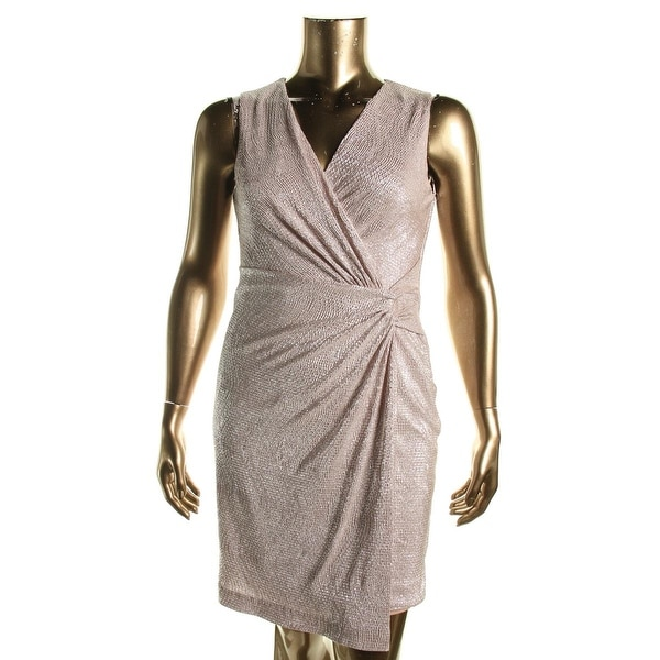 Lauren Ralph Lauren Womens Petites Wrap Dress Glitter Metallic