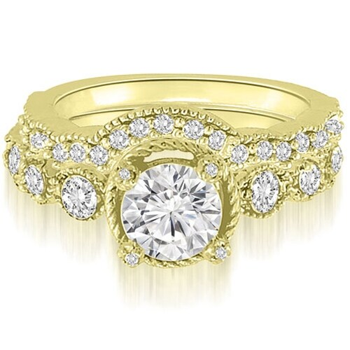 1.80 cttw. 14K Yellow Gold Antique Milgrain Round Cut Diamond Bridal Set