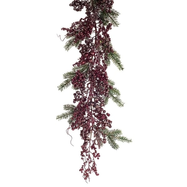 Set of 2 Rustic Red and Brown Metallic Berries and Pine Needles Christmas Garland 77""