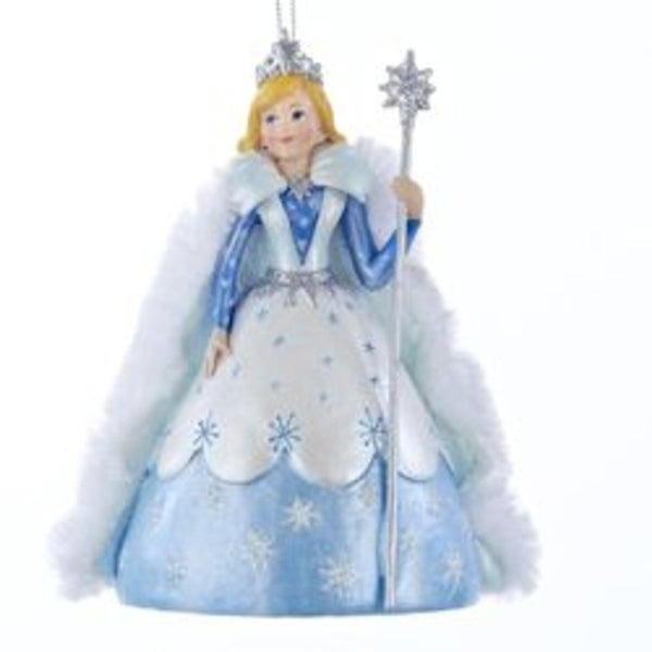 "4.75"" Blue and White Princess Garden Snow Queen Decorative Christmas Ornament"