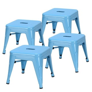 Costway Set of 4 Kids Stool Stackable Metal Children Toddlers Lightweight Blue