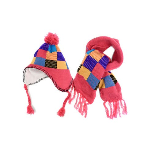 Kids Girls Pink Patch Work Knitted Pom Trapper Hat & Scarf Set - One Size