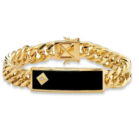 Men's Gold-Plated Bracelet, Black Onyx and Diamond Accent, 8 inches