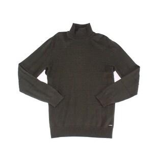 Hugo Boss Hugo Dark Green Mens Size XL Turtleneck Ribbed Sweater