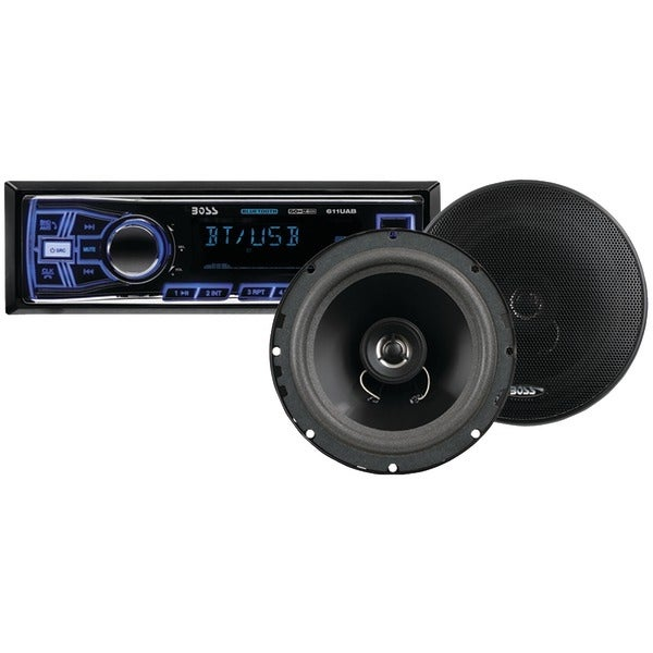 BOSS AUDIO 638BCK Single-DIN In-Dash Mechless AM/FM Receiver System with Bluetooth(R) & Speakers