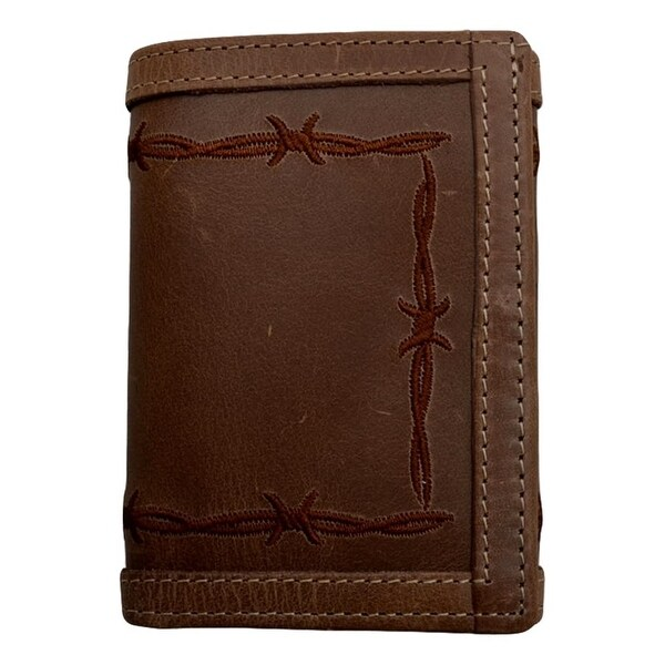 "3D Western Wallet Mens Trifold Vintage ID Window Pocket Brown - 4 1/4"" x 3"""