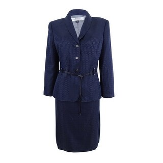 Tahari ASL Women's Belted Jacquard Skirt Suit - Navy
