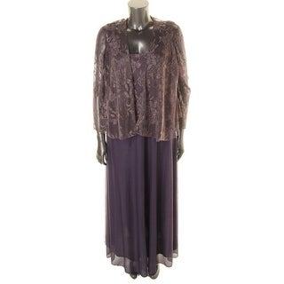 Patra Womens Plus Metallic Sleeveless Dress With Jacket