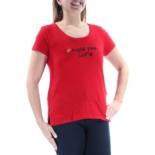 MICHAEL KORS $44 Womens New 1129 Red # Luxe For Life Short Sleeve Top L B+B