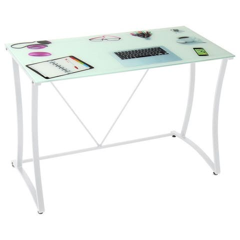 Best Master Furniture Off White Glass Top Writing Desk