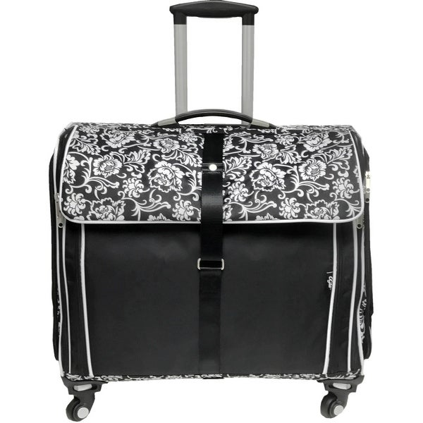 1d3c0c9e63e9 Shop Cgull Ultimate Craft Machine   Supplies Trolley Canvas Tote-Black With  White Damask Florals - Free Shipping Today - Overstock - 18879808