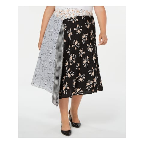 CALVIN KLEIN Womens Black Printed Midi Pleated Skirt Size 20W