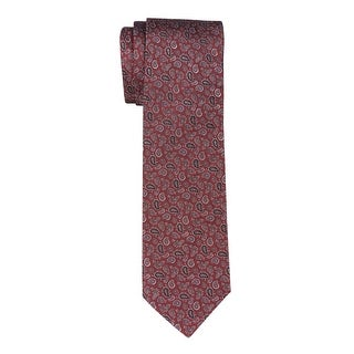 Yves Saint Laurent Silk Paisley Tie Red & Silver Necktie Made In France