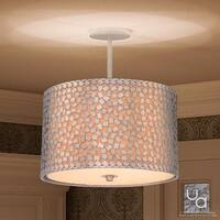 """Luxury Modern Chandelier, 10""""H x 16""""W, with Shabby Chic Style, Drum Design, Olde Silver Finish"""