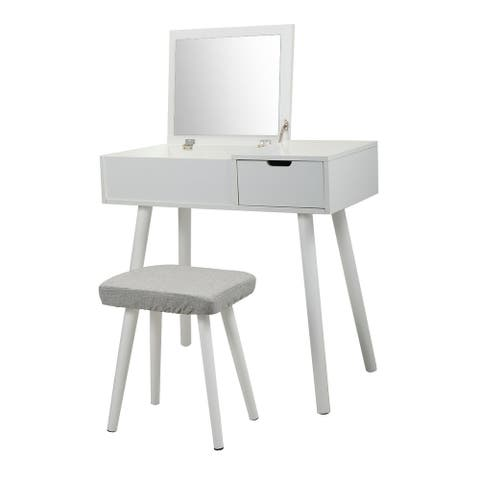Vanity Table Set with Flip Top Mirror, Cushioned Stool, 1 Drawers