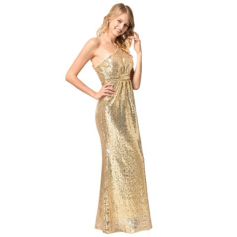 Shoulder Sequins Evening Dress