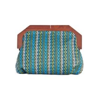 INC International Concepts Womens Mini Wood Clutch Handbag Blue and Green