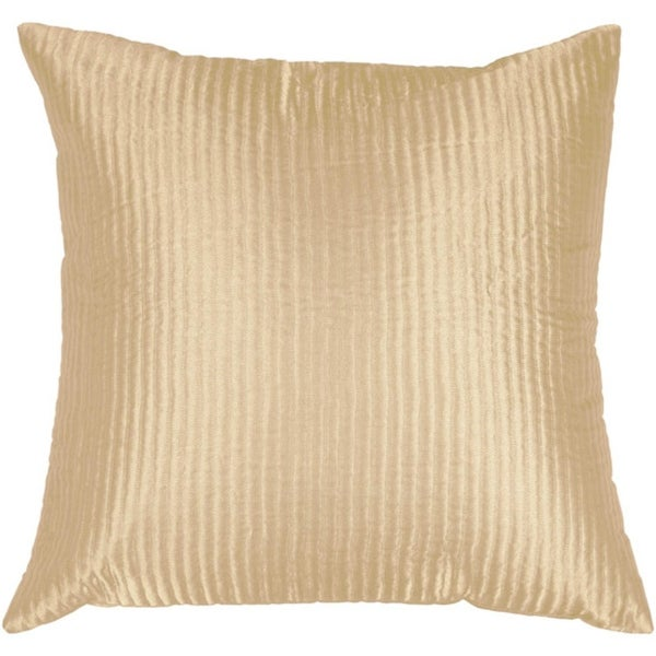 "18"" Light Cream Shiny Ribbed Decorative Down Throw Pillow"
