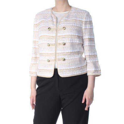 ST JOHN Womens Beige Tweed Striped Jacket Size: 14
