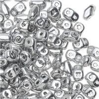 Czech Glass MiniDuo, 2-Hole Beads 2x4mm, 8 Gram Tube, Crystal Full Labrador