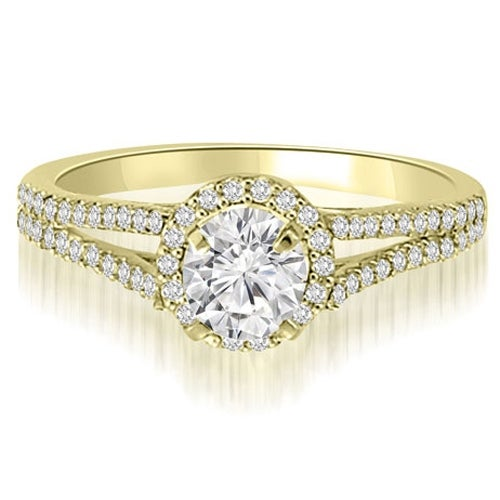 1.10 cttw. 14K Yellow Gold Halo Split-Shank Round Cut Diamond Engagement Ring