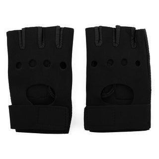 Outdoor Cycling Workout Training Exercise Non-slip Half Finger Gloves Black Pair