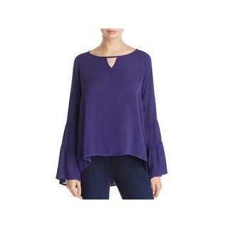 Side Stitch Womens Blouse Bell Sleeve Boat Neck