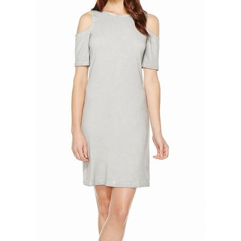 Tart Womens Sheath Dress Heather Gray Size Small S Cold Shoulder Jersey