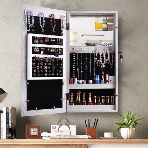 Simple PVC Wood Grain Coating Photo Storage Damp-proof Jewelry Mirror Cabinet