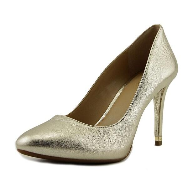 Michael Michael Kors Ashby Flex Pump Women Round Toe Leather Gold Heels