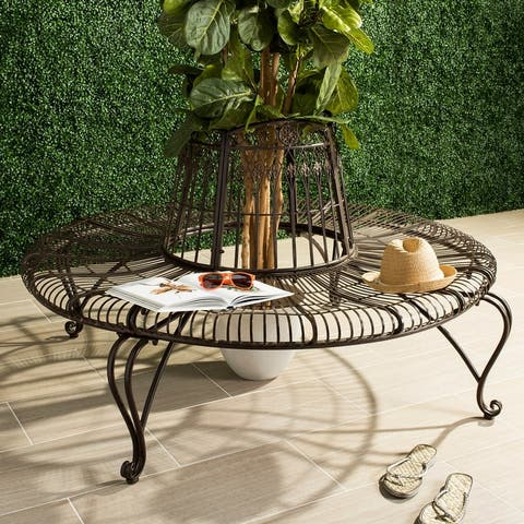 """SAFAVIEH Outdoor Ally Victorian Iron Round Tree Bench - 60.3"""" x 60.3"""" x 33.8"""""""