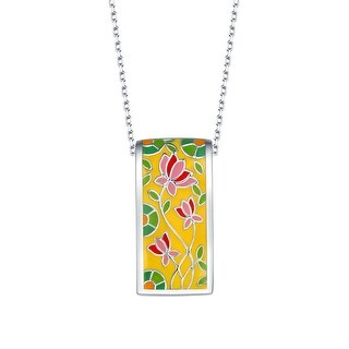 Vedantti Madhubani Art Lotus Flower Multi Color Enamel Necklace