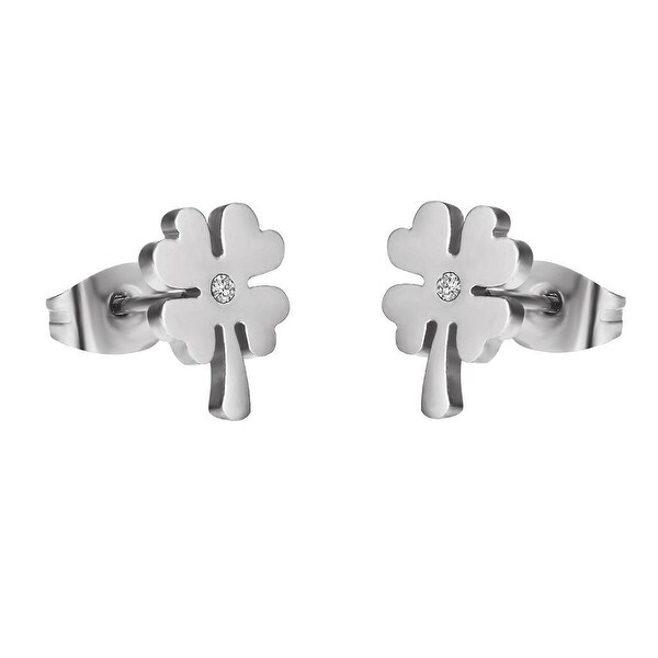 Stainless Steel Clover Leaf Earrings Simulated Diamond Studs Womens