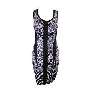 Rampage Juniors Black White Aztec-Printed Bodycon Tank Dress M