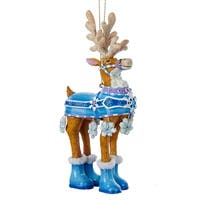 Reindeer in Blue Snowflake Outfit Decoartive Christmas Ornament