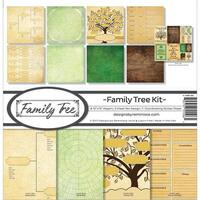 """Reminisce Collection Kit 12""""X12""""-Family Tree, 8 Papers & Stickers"""