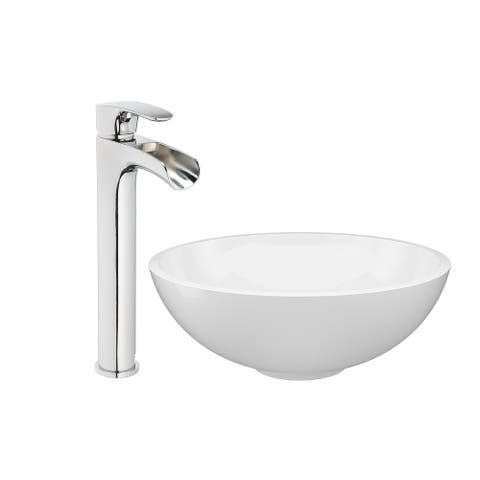 """Jacuzzi SS5493 Solid Surface 16-1/2"""" Vessel Bathroom Sink with 1.2 GPM"""