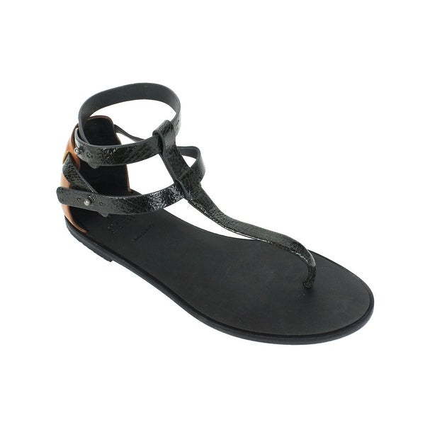 a5808781a246f2 Shop Brunello Cucinelli Womens Black Leather Thong Sandals - Free ...