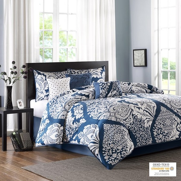 Madison Park Marcella Indigo Cotton Printed 7-piece Comforter Set. Opens flyout.