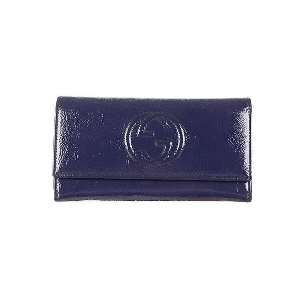 73d5c35f520 Shop Gucci Soho Navy Blue Patent Leather Continental Wallet - Free ...