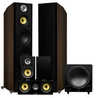 Fluance Signature Series Surround Sound Home Theater 5.1 Channel System - Walnut (HF51WR)