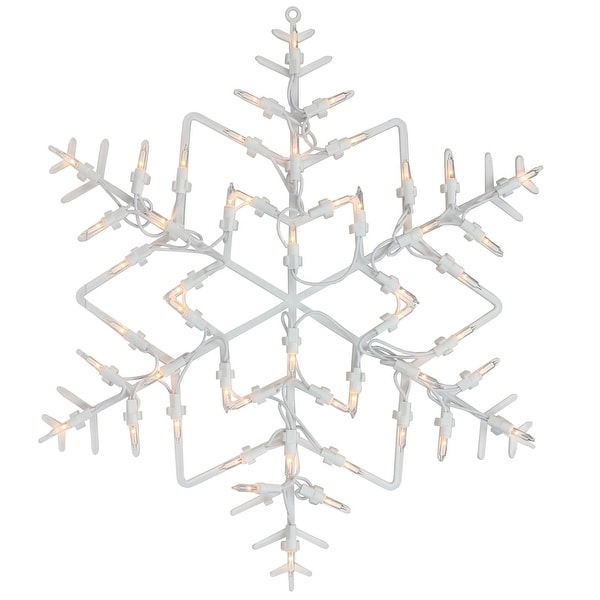 """Pack of 4 Lighted Snowflake Christmas Window Silhouette Decoration 15"""""""