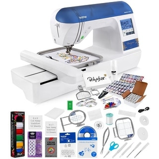 Brother Designio DZ820E Embroidery Machine + Grand Slam Package Includes 64 Embroidery Threads + Prewound Bobbins + More