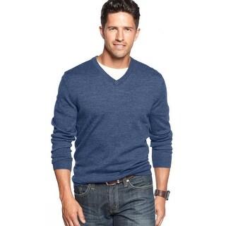Club Room Merino Wool Blend V-Neck Sweater Denim Blue Heather Small S
