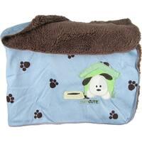 Snugly Baby Blue Sateen & Fleece Baby Blanket w/ Puppy