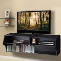 Costway 48.5'' Wall Mounted Audio/Video TV Stands Console Living Room Furniture W/Shelves - Black
