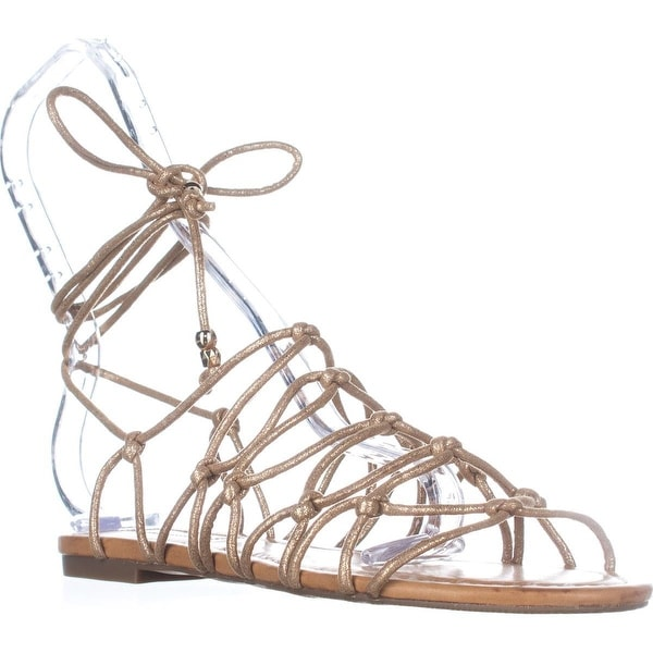 I35 Gallena Flat Lace-up Sandals, Gold